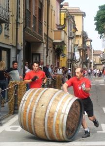 Wine barrel rolling